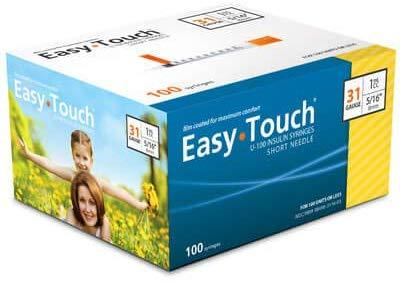 immunodx/EasyTouch® U-100 Insulin Syringes 31g, 5/16″ (8mm) (Pack 100)/.5cc/831165